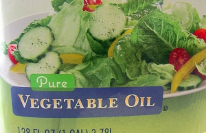 Vegetable oil: Made from fresh lettuces, cucumbers and peppersYeah, right. The tiny ingredients list on the back of the container says 'soybean oil.' I feel duped.